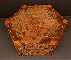 Chinese hexagon box hard wood Hibiscus flower motif