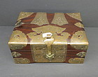 Chinese rosewood document box with turtle lock