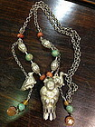 Antique Chinese silver necklace with coral turquoise