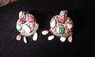 Jadeite tourmaline silver earring