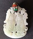 Chinese carved jadeite pendant