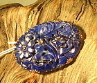 reticulated  lapis oval plaque Gold metal brooch