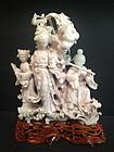 Rare pink hardstone jade carved group