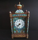 Chinese export cloisonné cariage clock