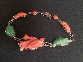 Chinese antique carved coral Jadeite 14K gold bracelet