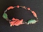 Chinese antique carved coral Jadeite 14K gold bracelet