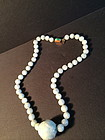 Chinese jadeite necklace with jadeite gold clasp