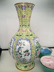 Chinese painted enamel lobbed baluster vessel