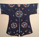 Chinese lady's deep blue satin surcoat flower butterfly