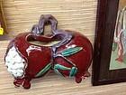 Chinese Glazed pottery double peach wall pocket vase