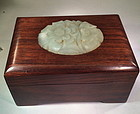 Carved jade decorated hardwood box