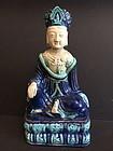 Polychrome glazed porcelain Ming Buddha