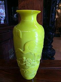 Carved Chinese yellow Peking glass vase