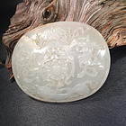 Qing carved jade plaque