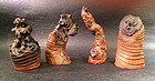 group of four carved bamboo seals