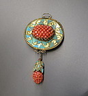 Kingfisher feather and coral beads pendant