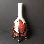 Porcelain vase with Foo Dog design with fitted stand