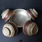 Antique Tibetan offering silvered copper kapala bowls
