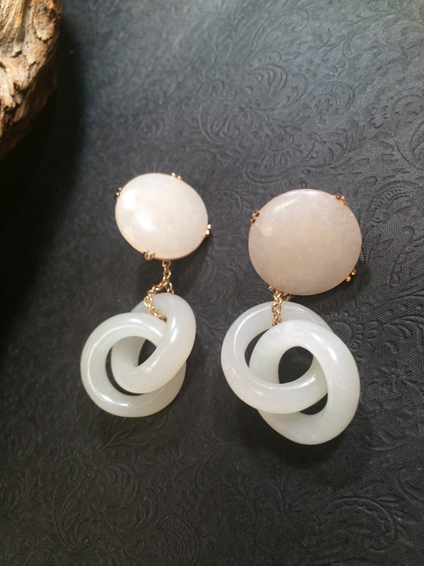 White jade nephrite double inter locked  earrings