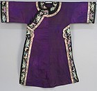 CHINESE SILK EMBROIDERED MANCHU LADY ROBE