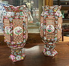 A pair of Chinese porcelain wedding lamps