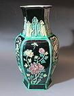 Antique Chinese Hexagonal Black background porcelain vase