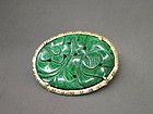 Chinese hard stone jade carved pendant pin brooch