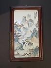 A Chinese framed porcelain landscape plaque