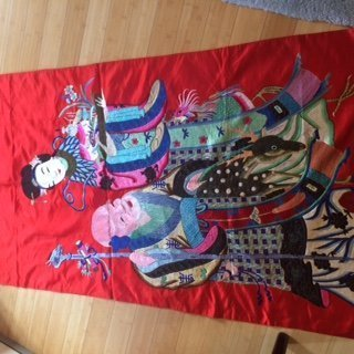 Large embroidered crimson tapestry of MaGu and god of longevity