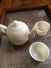Antique Chinese jade tea pot with two tea cups