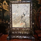 Antique Chinese Silk Embroidered Table Screen peacock and flowers