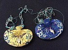 A pair of Chinese silk embroidered sachet He Bao