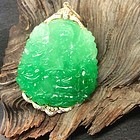 Jadeite Goddess of Mercy Guangyin Gold Large pendant