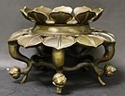 Chinese antique copper bronze lotus stand