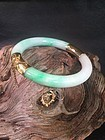 Chinese 14K gold apple green jade bangle bracelet