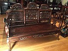 Antique Chinese carved Rosewood settee bench