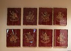 Framed embroidered silk  Set of eight immortals