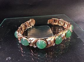 Gold diamond jadeite bracelet