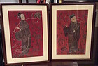 Two framed antique Chinese embroidered figures