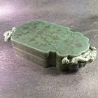 Mughal  style carved spinach jade silver inlay covered box