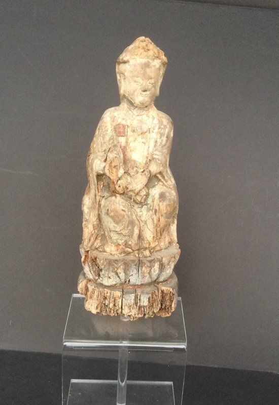 Ming Dynasty carved wood Goddess of Mercy fragment