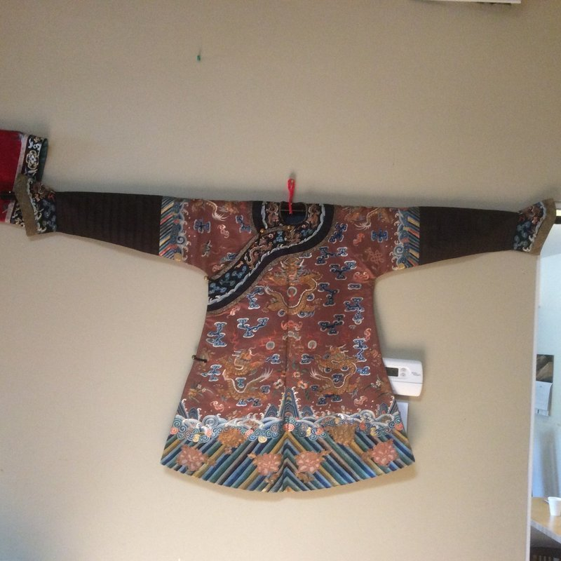 A Red chestnut embroidered Child's dragon robe