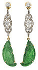 A pair of carved jade, diamond platinum gold and 14k gold earrings