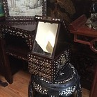 Antique Chinese rosewood mother of pearl inlay make up  jewelry chest