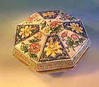 Chinese enameled box flower and bird design