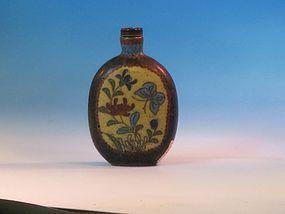 antique  cloisonné enameled metal bottle