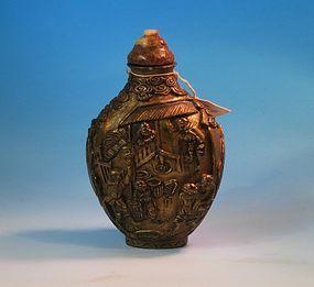 Gilt enameled snuff bottle Qianlong mark