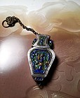 Antique Chinese silver enameled needle case with chain