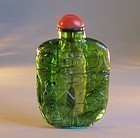 Chinese green tourmaline carved snuff bottle