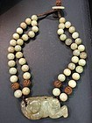 Chinese hand made jade hard stone pendant necklace